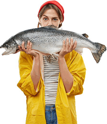 Woman holding a large salmon