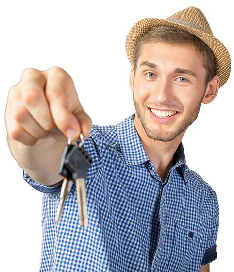 Rather happy young man holding out your keys